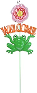 "24"" Garden Stake Comical Green Frog Holding Orange Welcome Sign with Pink Flower"
