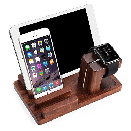JUNCH Wooden Charge Dock Holder for iWatch and Docking Station Cradle Bracket for iPod, iPhone, iPad and Smartphones and Tablets, Dark Brown