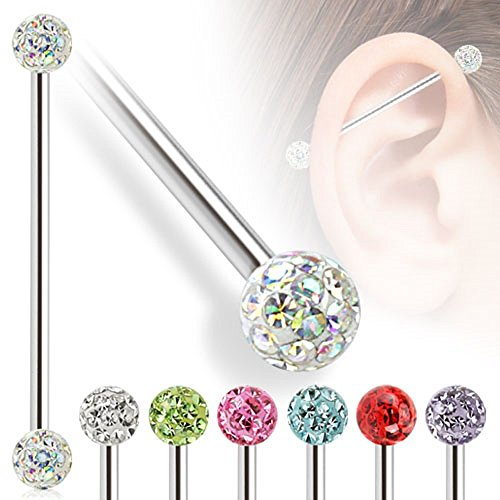 Industrial Barbell with Clear Epoxy Coated Ferido Multi-CZ Balls 14G (Sold Individually) (AB Clear)