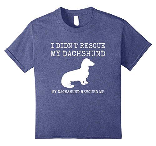 e T-Shirt - My Dachshund Rescued Me 12 Heather Blue (Dachshund Rescue)