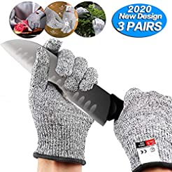 3 pairs Cut Resistant Gloves - Upgrade C...