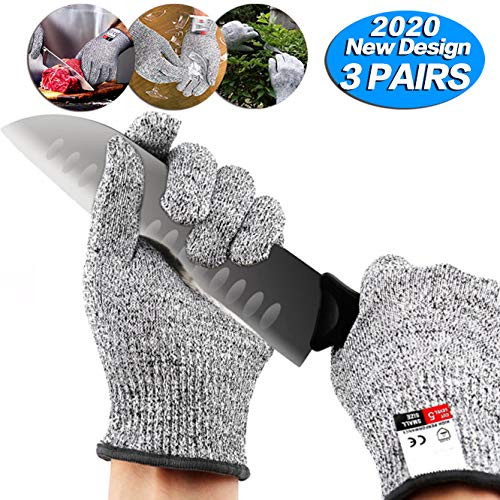 3 pairs Cut Resistant Gloves - Upgrade Cut Resistant,Food Grade Level 5...