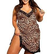 Women's Mini Sling Dress Man Plus Size Adjustable Strappy Sleeveless V-Neck Leopard Print Casual Dresses