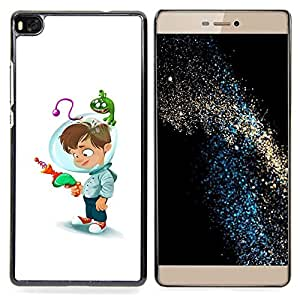 FOR HUAWEI P8 Queen Pattern - Space Kid Helmet Laser Gun Mothers Child - Doble capa de armadura de la cubierta del caso del protector -