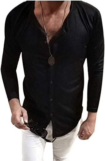 Camisa Hombre Blusa Suelta Casual Transpirable Tops De Manga ...
