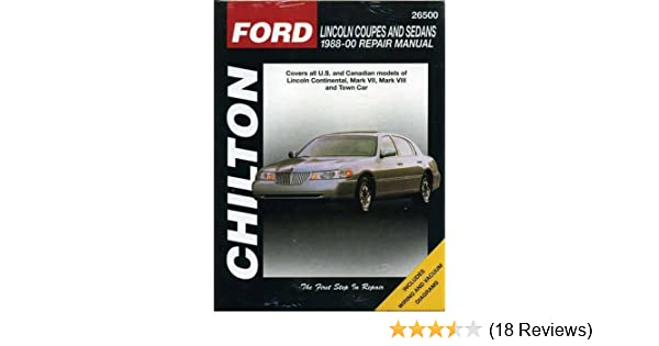 lincoln coupes and sedans 1988 00 haynes repair manuals chilton rh amazon com 2000 Lincoln Continental Fuse Diagram 2000 Lincoln Continental Cooling System