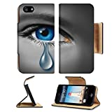 Liili Premium Apple iPhone 5 iphone 5S Flip Pu Leather Wallet Case iPhone5 IMAGE ID: 12353991 Child abuse with the eye of a young boy or girl with a single tear crying due to the fear of vio