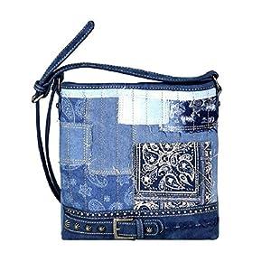 Montana West Denim Patchwork Paisley Messenger Bag Hipster Purse Blue