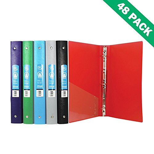 Poly Binder, File School Office 3 Ring Binders 1 Inch With Pocket (case Of 48) by BAZIC-PRODUCTS