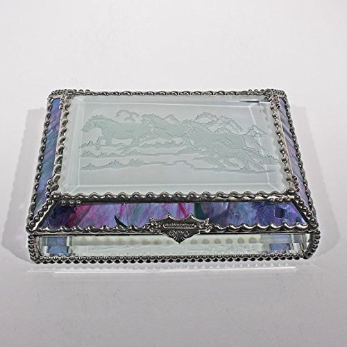 Mustangs, Wild Horses, Equine Stained Glass Jewelry Box, Presentation Box, Keepsake Box, Glass Jewels, Swarovski Crystals, USA Made by Glass Treasure Box