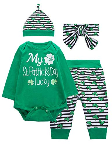 4PCS St Patrick's Day Outift Set Baby Boys Girls Shirt Pants with Hat and Headband (0-3 Months) Green