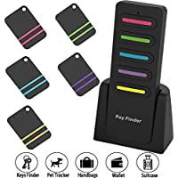 WirelessRFItemLocatorKeyFinder-QiekenaoKey Tracker Item Finder Anti-Lost Tag Beeper Alarm Keychain 5 in 1 RF Transmitter and Receivers Key Wallet Luggage Bag Pet Finder Locator Tracker, Black