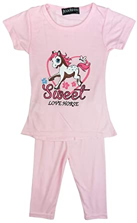cfb548ba24cac New Fashion 4u Filles Sweet Love Cheval Été Haut T-Shirt   Legging Mode  Ensemble Tailles de 2 à 8 Ans  Amazon.fr  Vêtements et accessoires