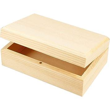 Caja de joyería de madera o decorar 14 x 9 x5cm | Cajas de madera para manualidades: Amazon.es: Hogar