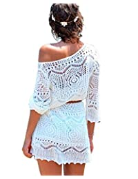 Women's Crochet Hollow Out Bikini Cover Up Beach Mini Dress with Belt