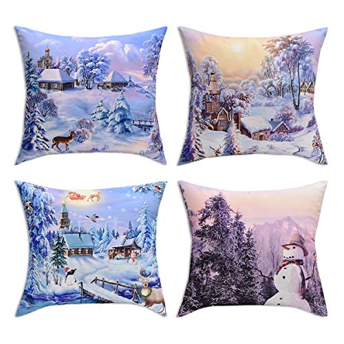 BLEUM CADE Pack of 4 Merry Christmas Decorative Pillow Cover Santa Claus and Deer Pillow Covers Elk Throw Pillow Cover Daily Cushion Cover for Christmas Home Office Car Sofa