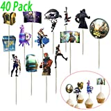 40 Pack Fortnight Birthday Cake Toppers, Fortnight Party Favors DIY Cake Decorating for Birthday Christmas Wedding