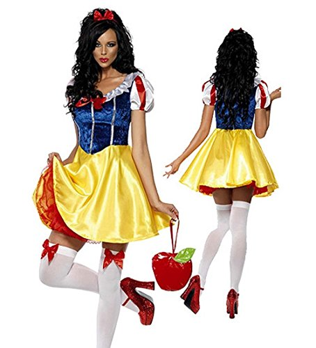Women's Snow White Princess Costume Dress with Headband for Halloween Cosplay Party M-XL (M)
