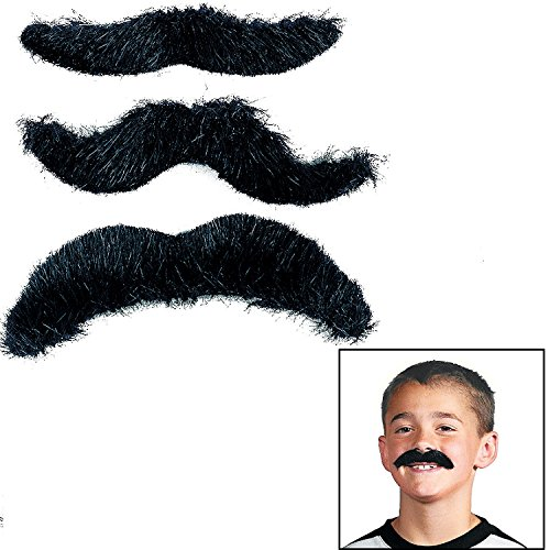 Hairy Black Mustaches (12 Pack) Novelty Moustaches, Suitable for All Ages -