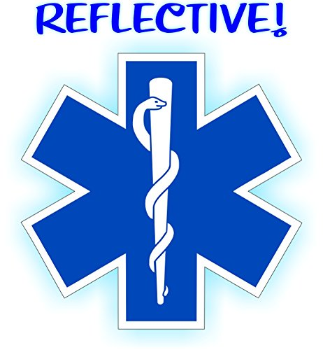Large 5-inch REFLECTIVE Star of Life Bumper Sticker | Window Decal | Fire Rescue Helmet Motorcycle Vinyl | Paramedic EMT Ambulance Labels Badges CPR AED First Aid Nurse RN DMT