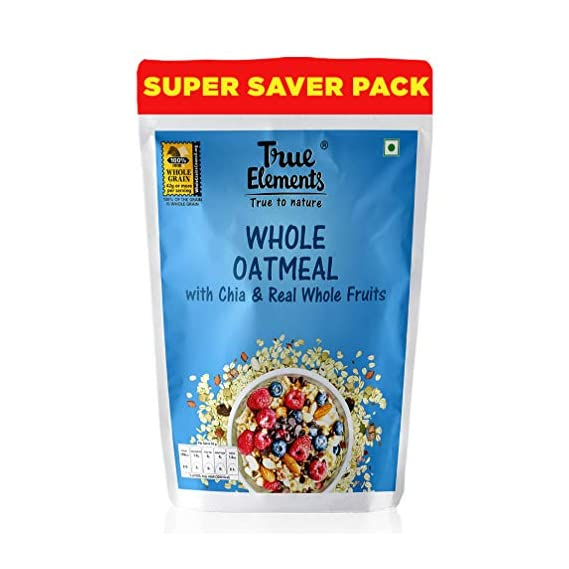 True Elements Whole Oatmeal 1.2kg - High Fibre Cereal for Breakfast, Super Saver Pack