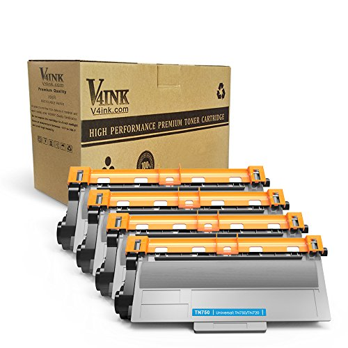 V4INK 4 Pack Compatible Replacement for Brother TN720/ TN750 Toner Cartridge - for use in Brother HL5450DN HL5470DW HL6180DW DCP8110DN MFC8710DW Series Printers