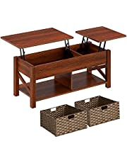 Rolanstar Coffee Table, Lift Top Coffee Table with Rattan Baskets and Hidden Compartment, Retro Central Table with Two-Way Lift Tabletop for Living Room, Espresso