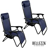 Belleze Zero Gravity Chair Recliner Patio Pool Chair Cup Holder, Utility Tray (2 PACK) - Navy Blue