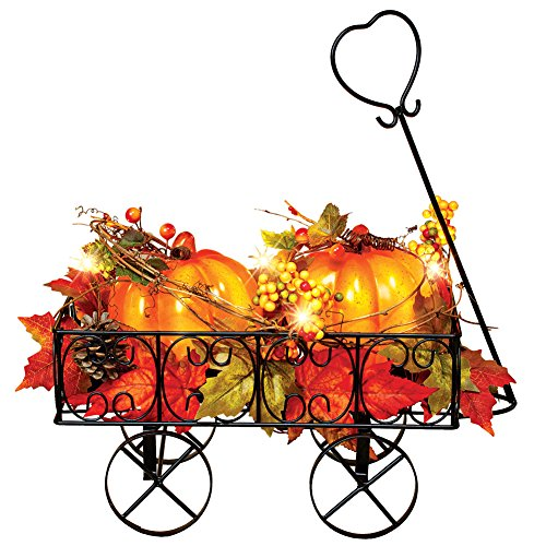 Collections Etc Lighted Metal Pumpkin Wagon with Leaves and Berries, Fall Outdoor and Indoor Décor, Yard, Garden, Porch for Thanksgiving (Decorations Outdoor Pumpkin)