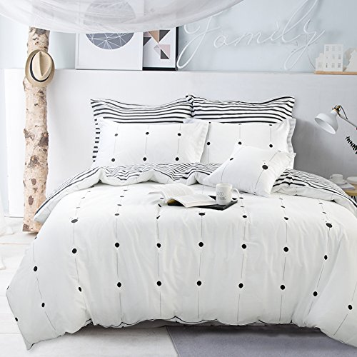 FADFAY Black and White Polka Dot Duvet Cover Set Soft and Hypoallergenic 100% Cotton Black and White Stripe Bedding Set 3 Pieces,1duvet Cover & 2pillowcases,Twin XL Size