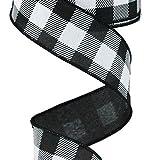 """1.5"""" Black and White Checked Plaid Ribbon - Craig Bachman Black White Buffalo Checked Ribbon (RG0179902) 1.5"""" x 10 Yards"""