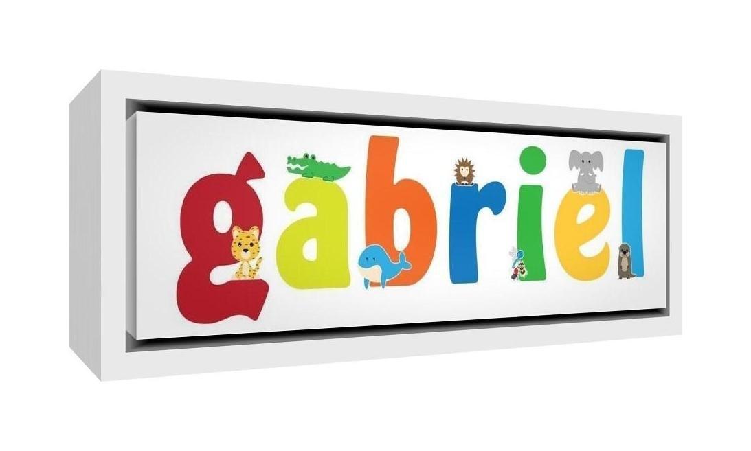 Disegno Personalizzabile con Nome da Ragazzi Gabriel 19 x 46 x 3 cm Little Helper LHV-GABRIEL-1542-FCWHT-15IT Stampa su Tela Incorniciata Legno Bianco
