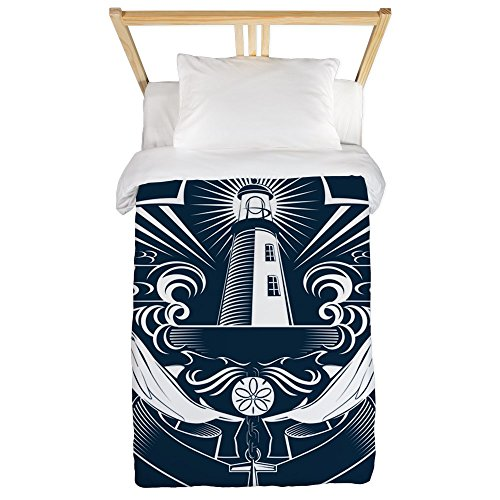(Twin Duvet Cover Lighthouse Crest Anchor Dolphins )