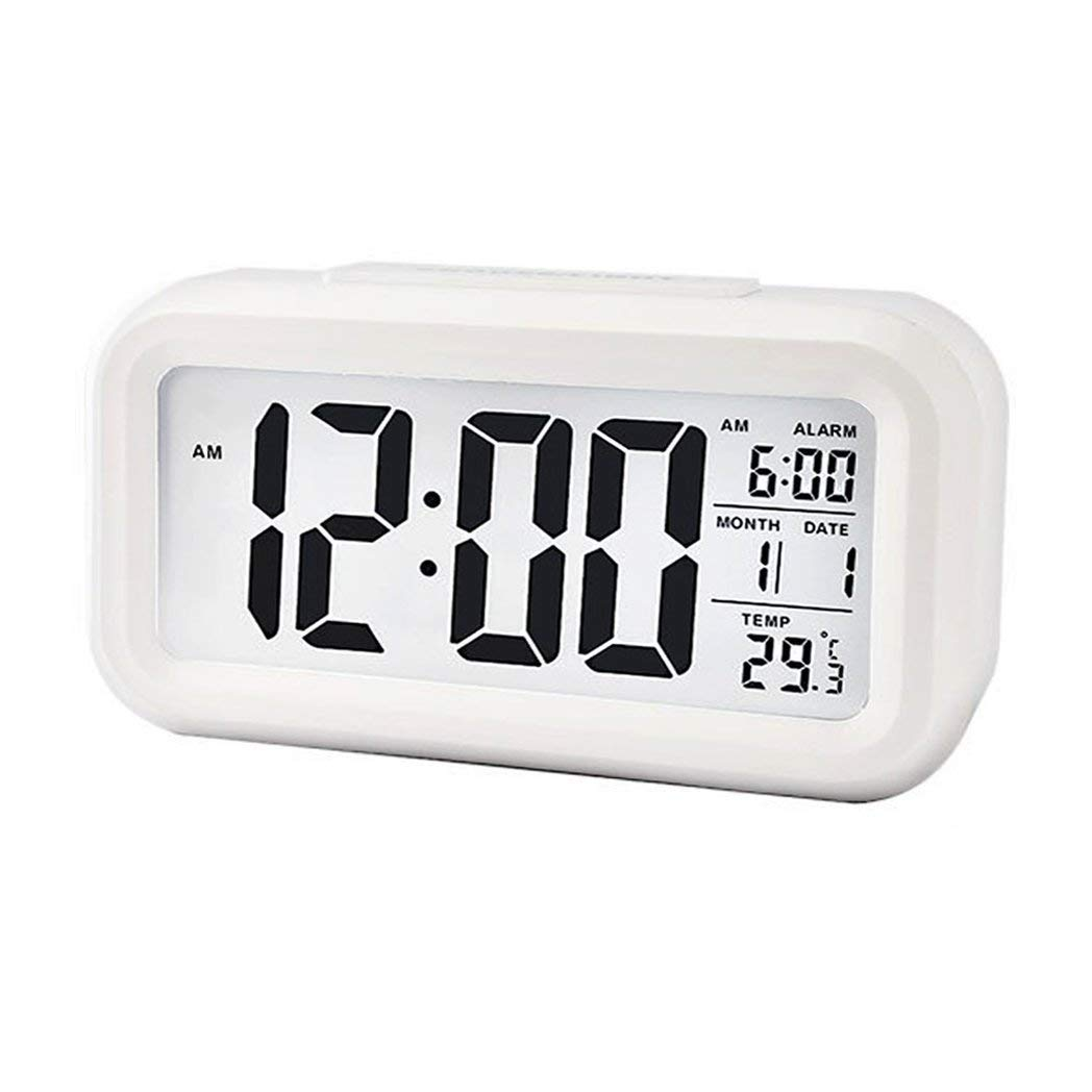Hemore LED Digital Alarm Clock Blanco El Regalo Ideal para los Padres, niños, Amantes, Mujeres