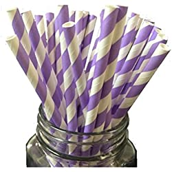 Just Sip It Biodegradable Vintage Paper Drinking Straws, Lavender Swirl, Pack of 50