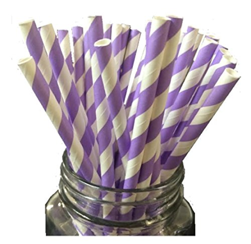 Just Sip It Biodegradable Vintage Paper Drinking Straws, Lavender Swirl, Pack of 50 (Lavender Paper Straws)
