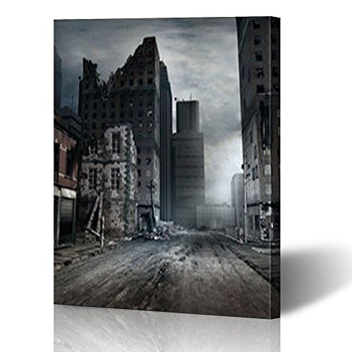 YeaSHARK Custom Canvas Prints Wall Art Post Apocalyptic Scene City Street Buildings Landmarks War Miscellaneous 12x16 Inches Stretched Gallery Wrapped Home Decor Modern Artwork Painting