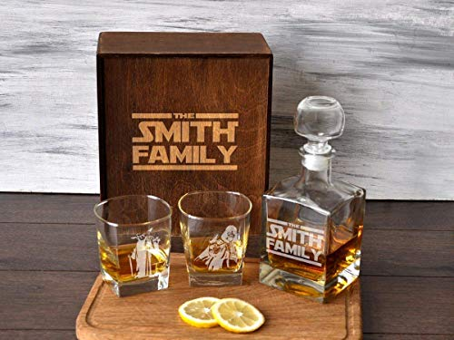 Whiskey Decanter Set Etched Whiskey Glasses Groomsmen Gift Box Custom Wedding Gift for Couple Present for Best Friend
