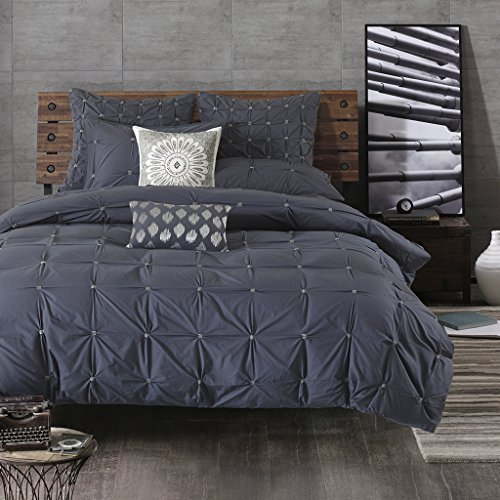 Ink+Ivy Masie Duvet Cover Full/Queen Size – Navy, Elastic Embroidery Tufted Ruffles Duvet Cover Set – 3 Piece – 100% Cotton Percale Light Weight Bed Comforter Covers
