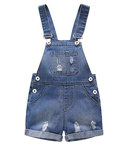 Kidscool Baby & Toddler Girls/Boys Big Bibs Ripped Hole Summer Jeans Shortalls,Light Blue,18-24 Months