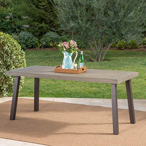 Mika Outdoor Grey Finished Acacia Wood Dining Table with Rustic Metal Legs