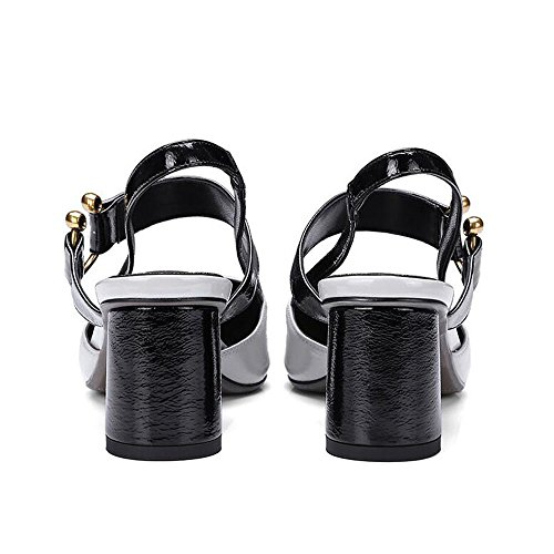 Donna Coreana Scarpe 42 a Fibbia Colori Gray Sandali Punta Grezzi in Alti Dimensioni Versione da Pelle Tacchi Metallo Misti Vuoti Colore in Tacchi wptS6qn