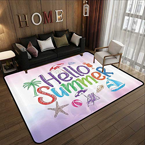 Rugs for Bedroom,Lifestyle,Hello Summer Motivational Quote with Cocktail Umbrella Palms Starfish Holiday Print,Lilac 47