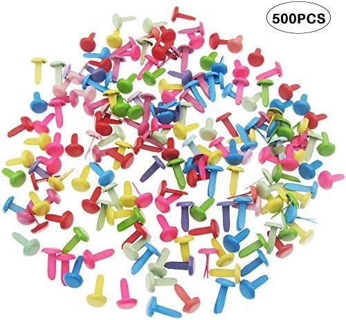 Besterose 500ピースミニブラッドラウンドパターンクリップカラフルなサンプルバッグクリップラウンドヘッドスクラップブッキング用ペーパークラフトDIYクラフトデコレーション8 x 12mm