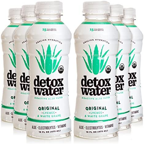 Detoxwater Prebiotic Aloe Water – Original Lychee White Grape 16 Fluid Ounces, Pack of 6