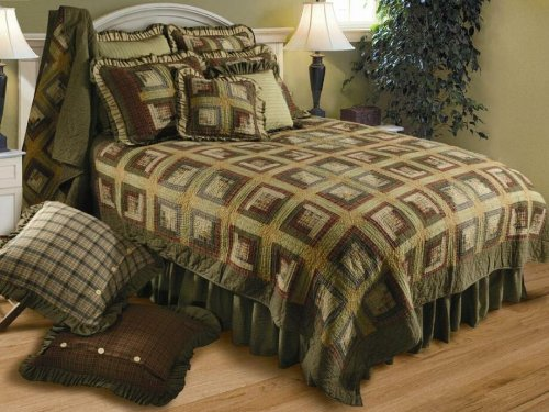 VHC Brands 10742 Tea Cabin Queen Bed Skirt (Cabin Bed Ruffle Bedskirt)