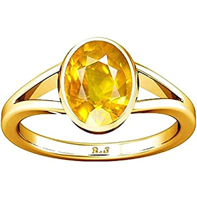 Buy Divya Shakti 12 25 12 50 Ratti Yellow Sapphire Gold Ring