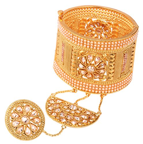 Gold Tone Indian Polki Bangle Ethnic Traditional Bollywood Fashion Jewelry