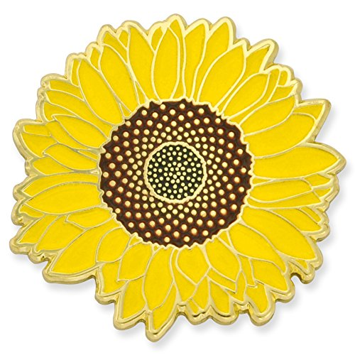 PinMart's Bright Yellow Sunflower Summer Enamel Lapel Pin by PinMart (Image #3)
