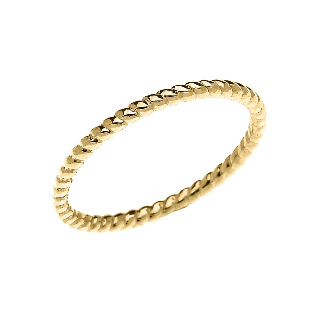 10k Yellow Gold Dainty Stackable Rope Design Ring (Size 9)